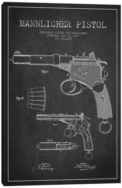 Mannlicher Pistol Charcoal Patent Blueprint Canvas Art Print