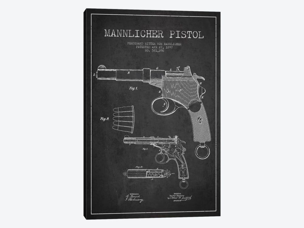 Mannlicher Pistol Charcoal Patent Blueprint by Aged Pixel 1-piece Canvas Artwork