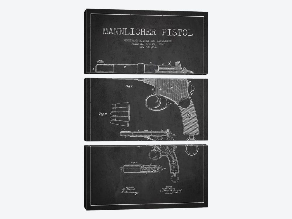 Mannlicher Pistol Charcoal Patent Blueprint by Aged Pixel 3-piece Canvas Wall Art