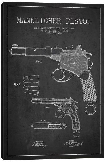 Mannlicher Pistol Charcoal Patent Blueprint Canvas Art Print