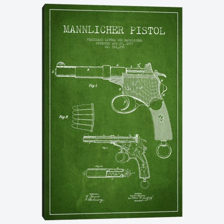 Mannlicher Pistol Green Patent Blueprint Canvas Print #ADP1295} by Aged Pixel Canvas Artwork