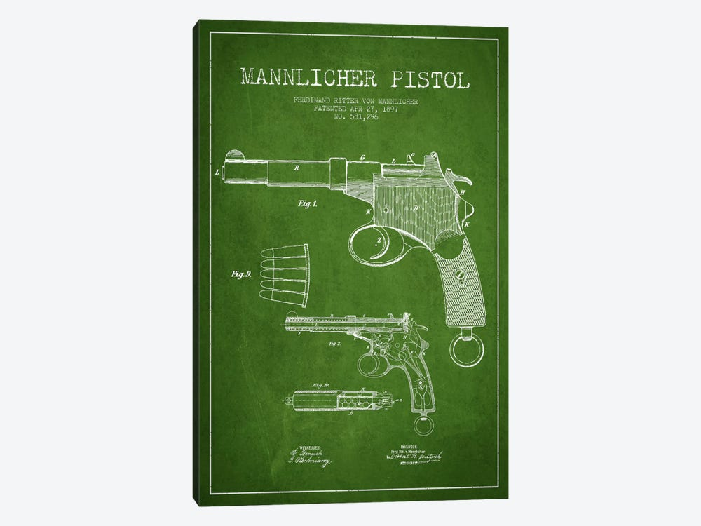 Mannlicher Pistol Green Patent Blueprint by Aged Pixel 1-piece Canvas Art Print