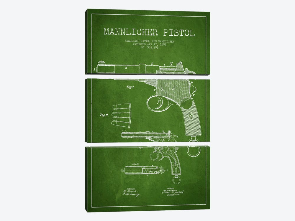 Mannlicher Pistol Green Patent Blueprint by Aged Pixel 3-piece Canvas Art Print