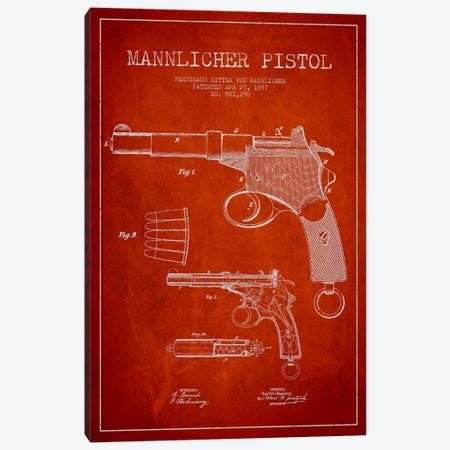 Mannlicher Pistol Red Patent Blueprint Canvas Print #ADP1297} by Aged Pixel Canvas Wall Art