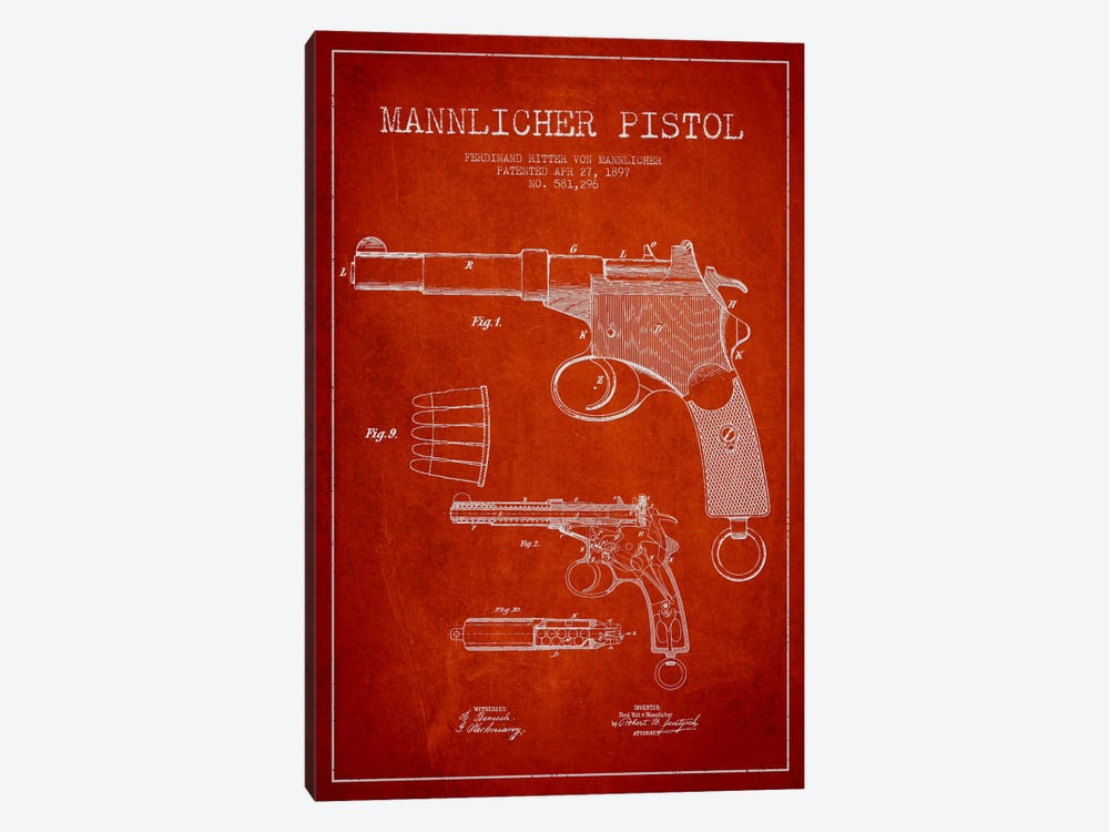Mannlicher Pistol Red Patent Blueprint by Aged Pixel 1-piece Art Print