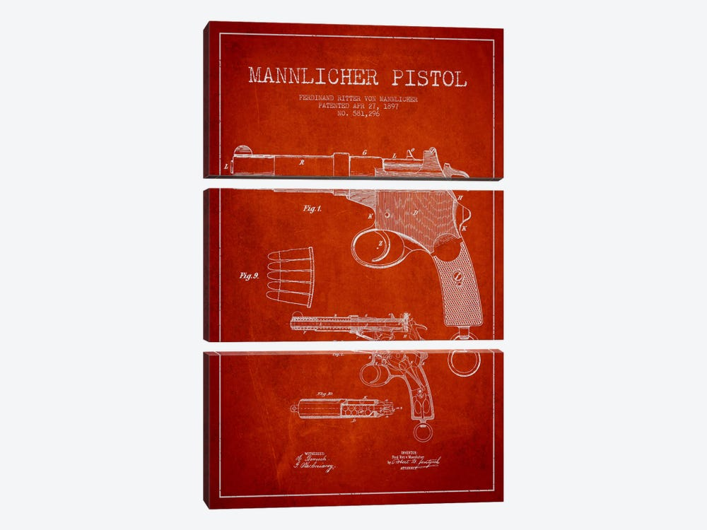 Mannlicher Pistol Red Patent Blueprint by Aged Pixel 3-piece Canvas Print