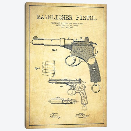 Mannlicher Pistol Vintage Patent Blueprint Canvas Print #ADP1298} by Aged Pixel Canvas Print