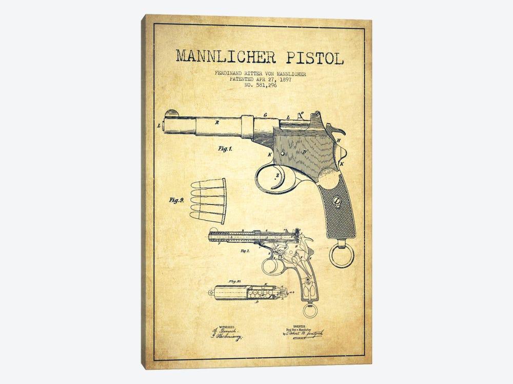 Mannlicher Pistol Vintage Patent Blueprint by Aged Pixel 1-piece Canvas Wall Art