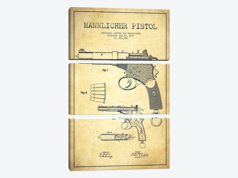 Mannlicher Pistol Vintage Patent Blueprint by Aged Pixel 3-piece Canvas Artwork