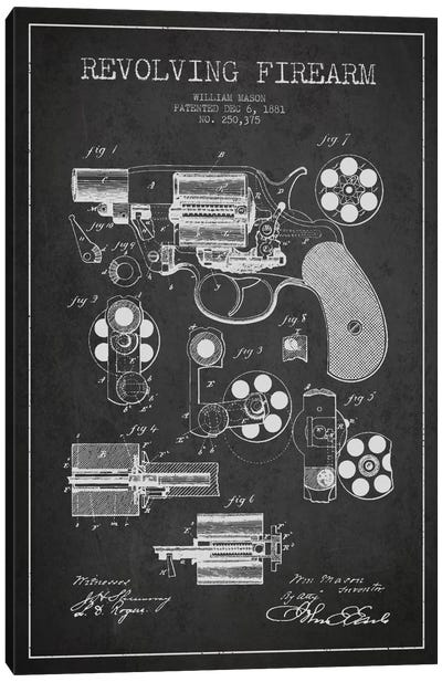Revolving Firearm Charcoal Patent Blueprint Canvas Art Print