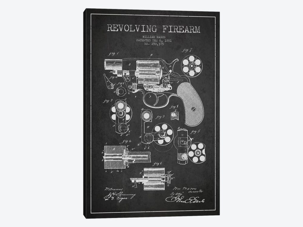 Revolving Firearm Charcoal Patent Blueprint by Aged Pixel 1-piece Canvas Print