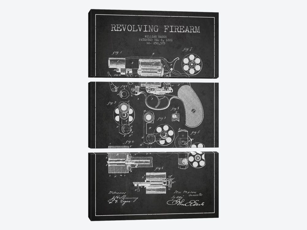 Revolving Firearm Charcoal Patent Blueprint by Aged Pixel 3-piece Art Print