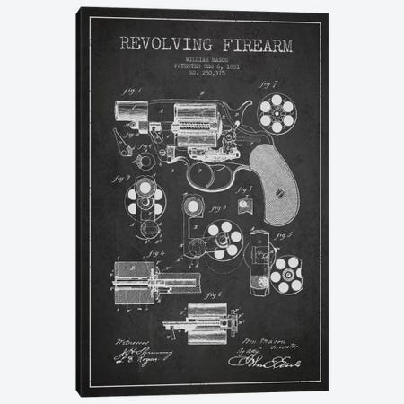 Revolving Firearm Charcoal Patent Blueprint Canvas Print #ADP1299} by Aged Pixel Canvas Print