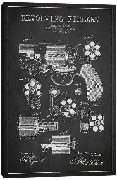 Revolving Firearm Charcoal Patent Blueprint Canvas Art Print