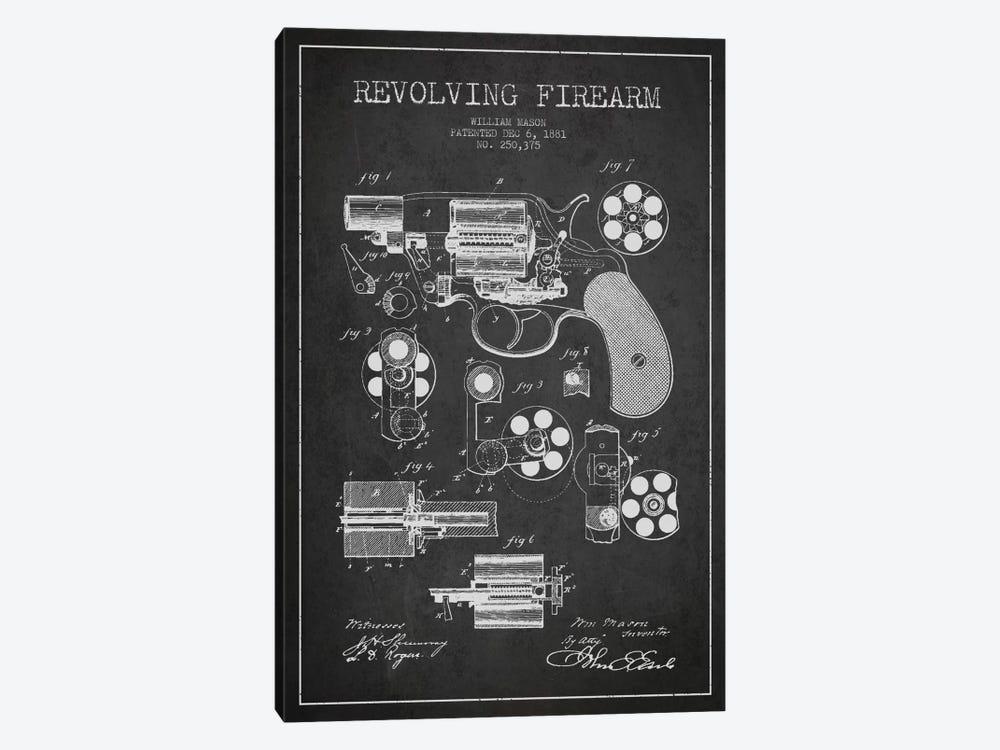 Revolving Firearm Charcoal Patent Blueprint by Aged Pixel 1-piece Canvas Print