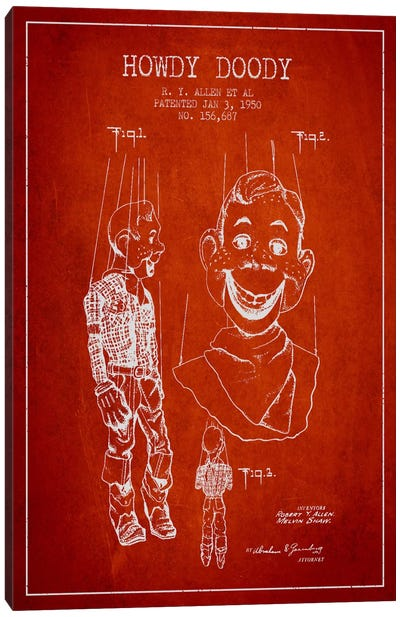 Howdy Doody Red Patent Blueprint Canvas Art Print