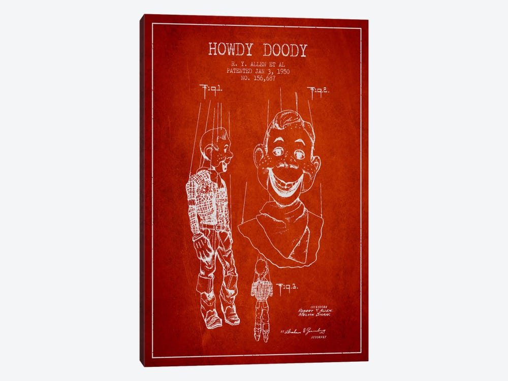 Howdy Doody Red Patent Blueprint by Aged Pixel 1-piece Canvas Print
