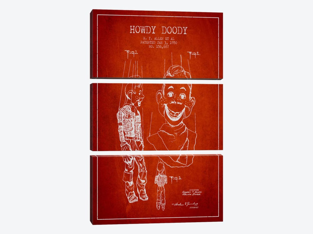 Howdy Doody Red Patent Blueprint by Aged Pixel 3-piece Canvas Art Print