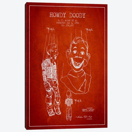 Howdy Doody Red Patent Blueprint Canvas Print #ADP129} by Aged Pixel Canvas Wall Art