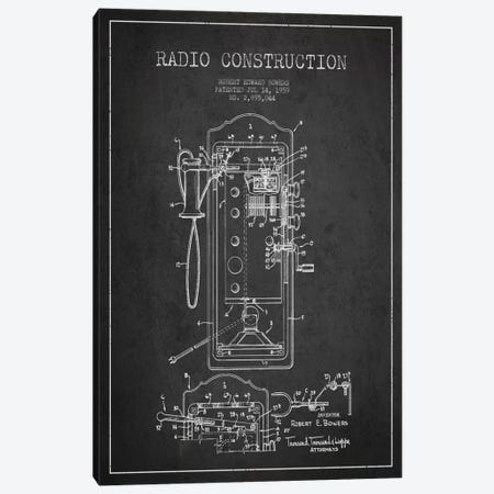Bowers Radio Constru Dark Patent Blueprint Canvas Print #ADP12} by Aged Pixel Canvas Art Print