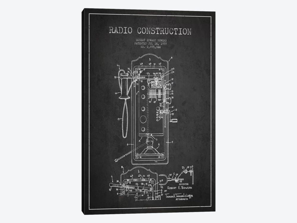 Bowers Radio Constru Dark Patent Blueprint by Aged Pixel 1-piece Canvas Art