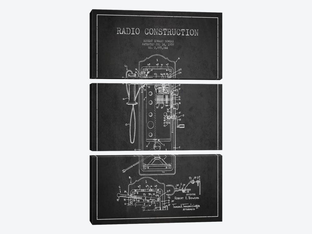 Bowers Radio Constru Dark Patent Blueprint by Aged Pixel 3-piece Canvas Artwork