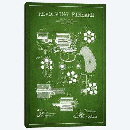 Revolving Firearm Green Patent Blueprint Canvas Print #ADP1300} by Aged Pixel Canvas Print