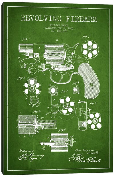 Revolving Firearm Green Patent Blueprint Canvas Art Print
