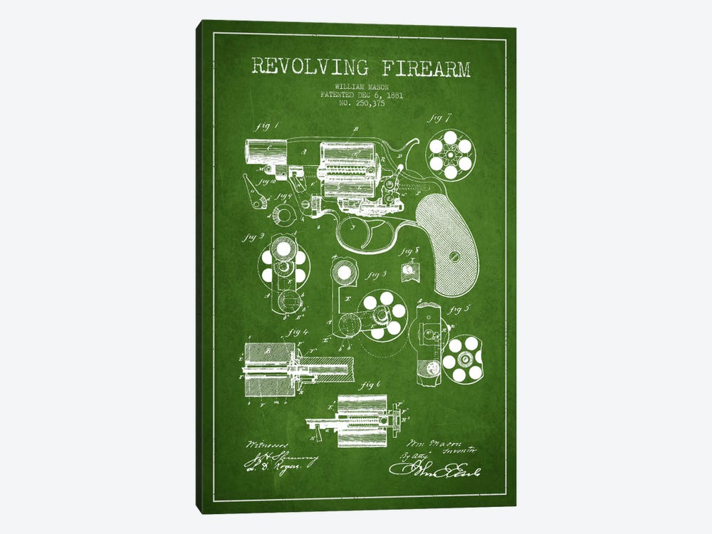 Revolving Firearm Green Patent Blueprint by Aged Pixel 1-piece Canvas Wall Art
