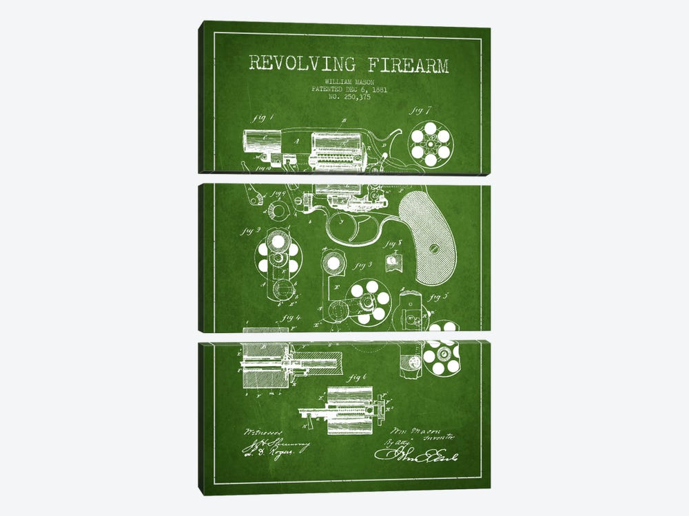 Revolving Firearm Green Patent Blueprint by Aged Pixel 3-piece Canvas Art