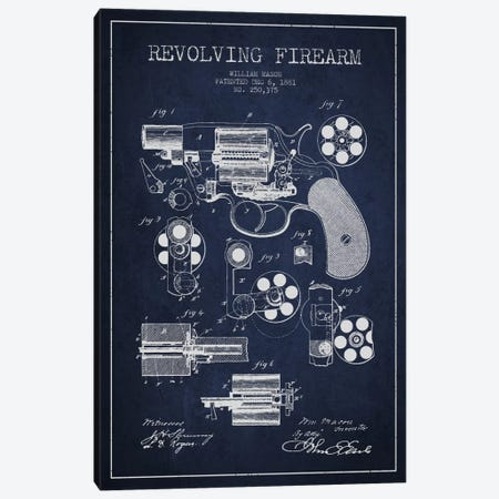 Revolving Firearm Navy Blue Patent Blueprint Canvas Print #ADP1301} by Aged Pixel Canvas Print