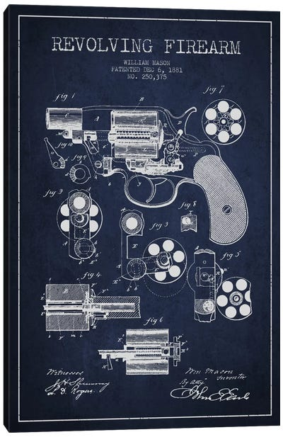 Revolving Firearm Navy Blue Patent Blueprint Canvas Art Print