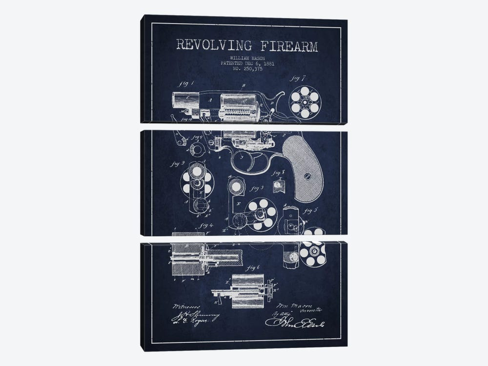 Revolving Firearm Navy Blue Patent Blueprint by Aged Pixel 3-piece Canvas Art Print