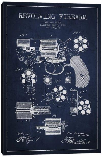 Revolving Firearm Navy Blue Patent Blueprint Canvas Art Print