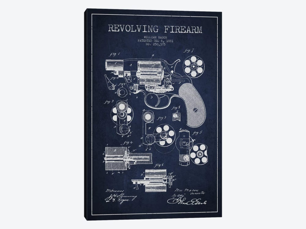 Revolving Firearm Navy Blue Patent Blueprint by Aged Pixel 1-piece Art Print