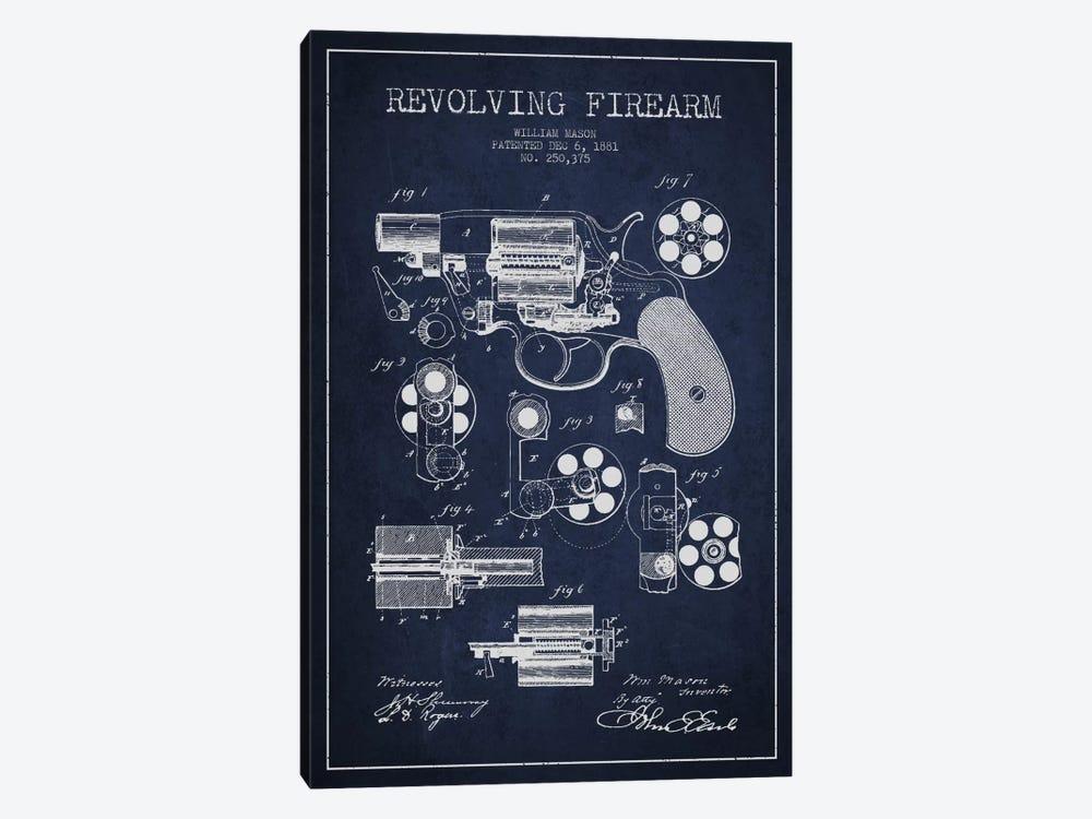 Revolving Firearm Navy Blue Patent Blueprint by Aged Pixel 1-piece Art Print