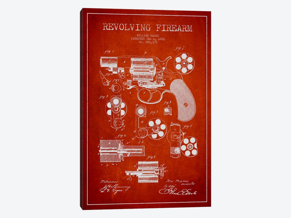 Revolving Firearm Red Patent Blueprint by Aged Pixel 1-piece Canvas Art