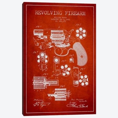 Revolving Firearm Red Patent Blueprint Canvas Print #ADP1302} by Aged Pixel Art Print