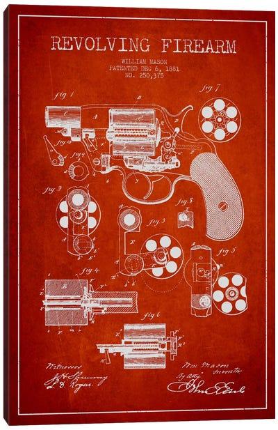 Revolving Firearm Red Patent Blueprint Canvas Art Print