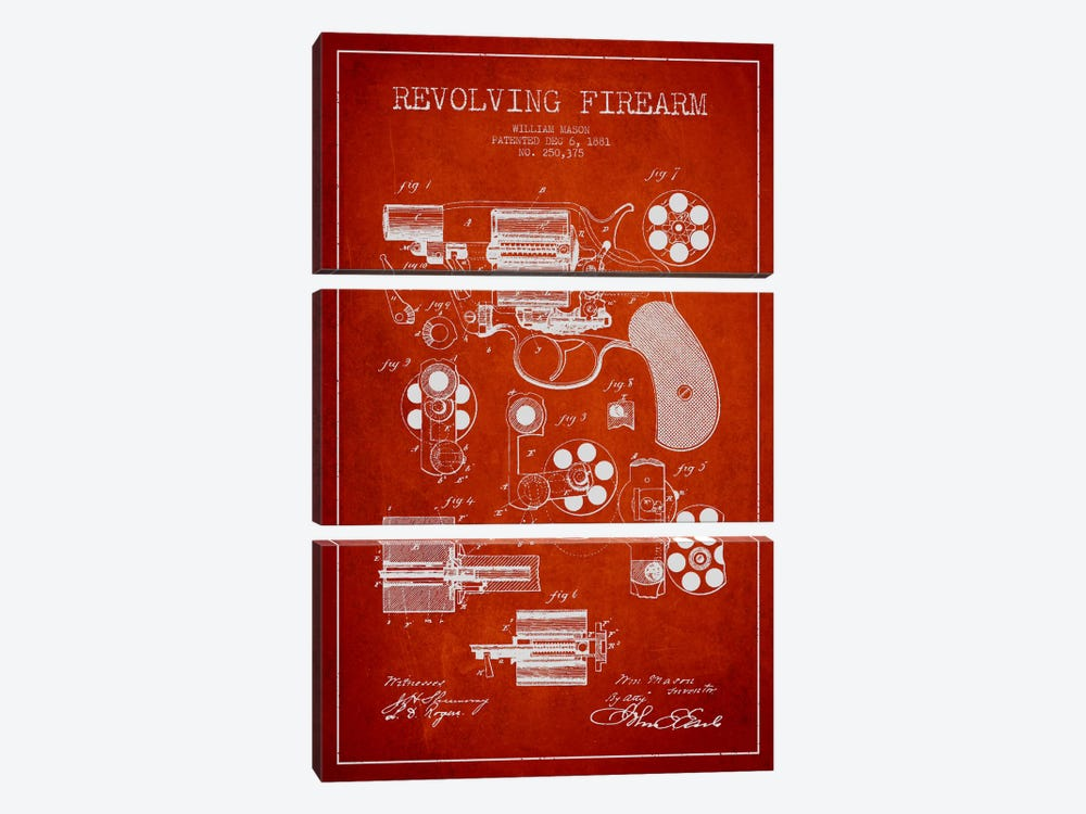 Revolving Firearm Red Patent Blueprint by Aged Pixel 3-piece Canvas Artwork