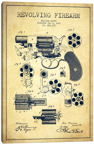 Revolving Firearm Vintage Patent Blueprint Canvas Art Print