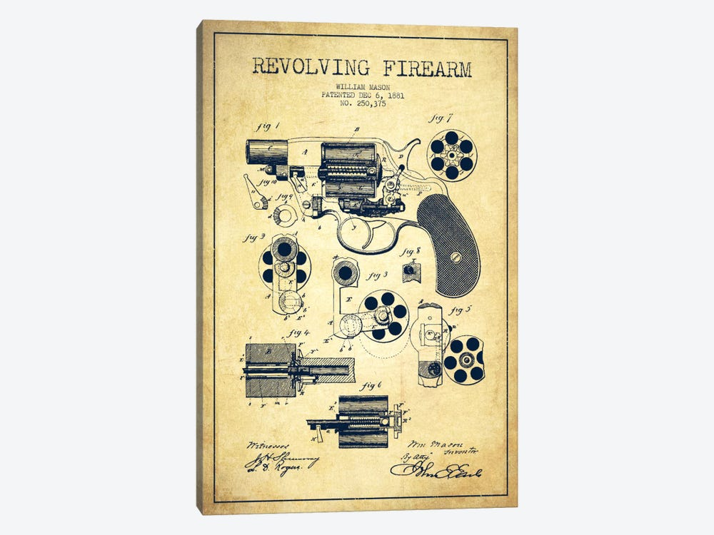 Revolving Firearm Vintage Patent Blueprint by Aged Pixel 1-piece Canvas Print