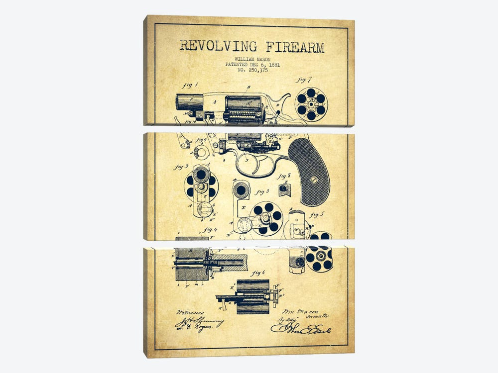 Revolving Firearm Vintage Patent Blueprint by Aged Pixel 3-piece Art Print