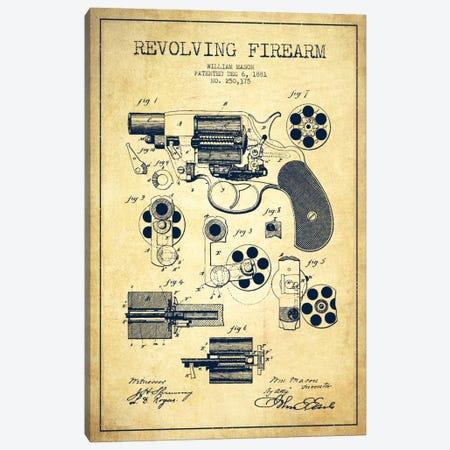Revolving Firearm Vintage Patent Blueprint Canvas Print #ADP1303} by Aged Pixel Canvas Art Print