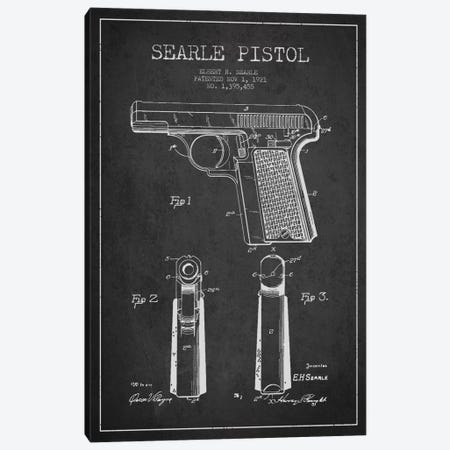 Searle Pistol Charcoal Patent Blueprint Canvas Print #ADP1304} by Aged Pixel Canvas Art