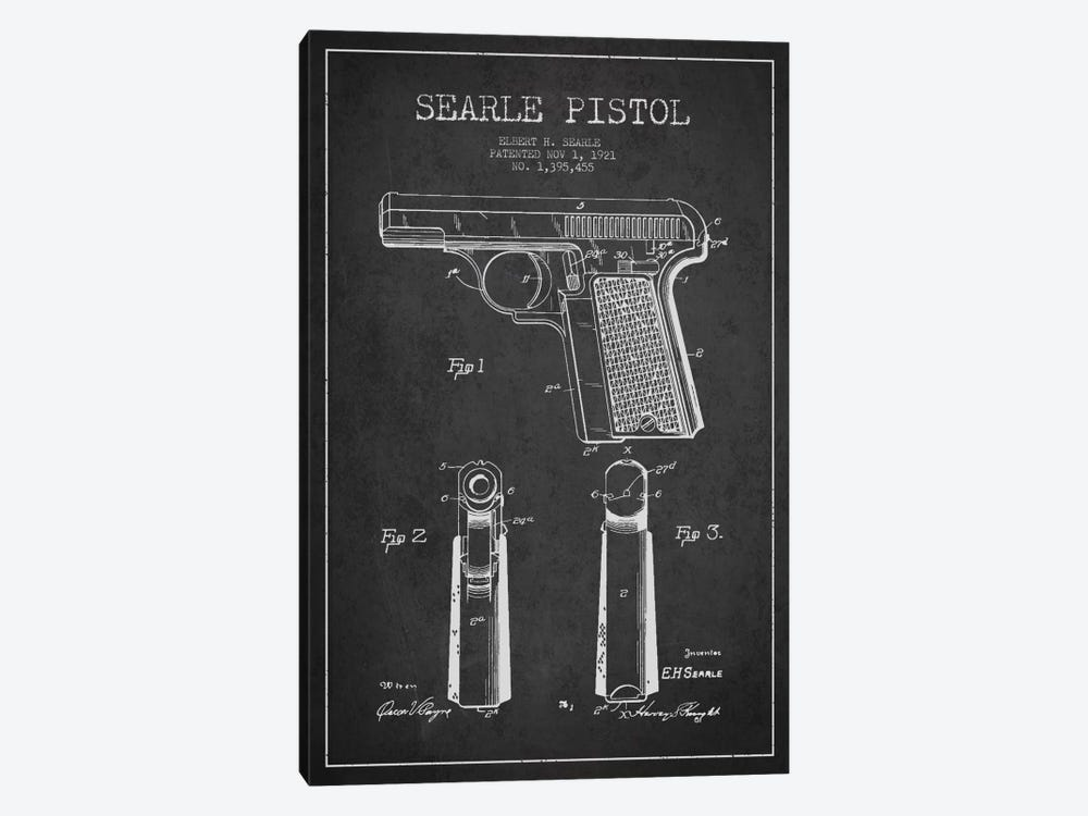 Searle Pistol Charcoal Patent Blueprint by Aged Pixel 1-piece Canvas Artwork
