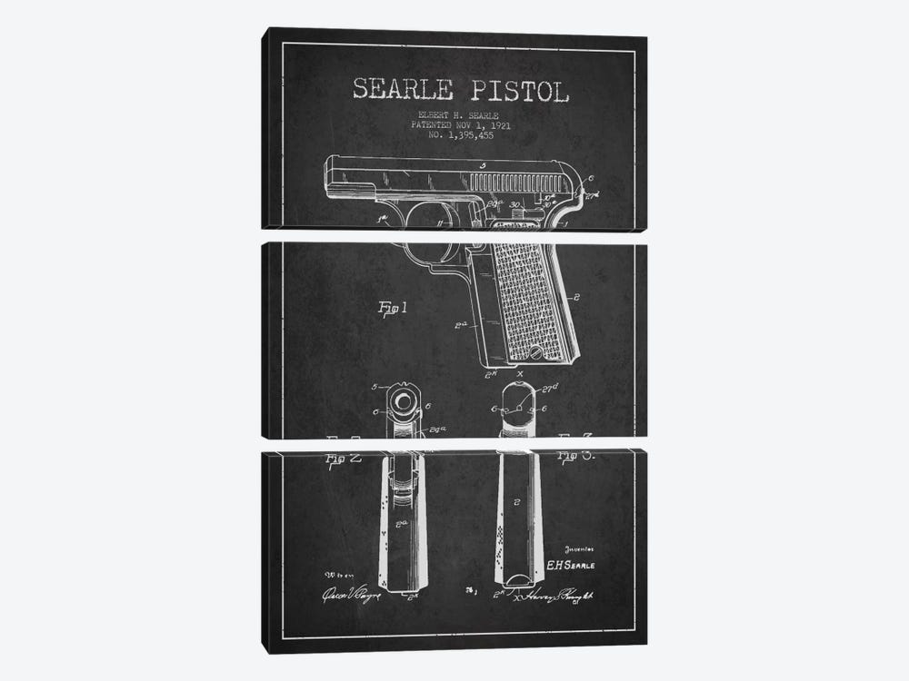 Searle Pistol Charcoal Patent Blueprint by Aged Pixel 3-piece Canvas Artwork