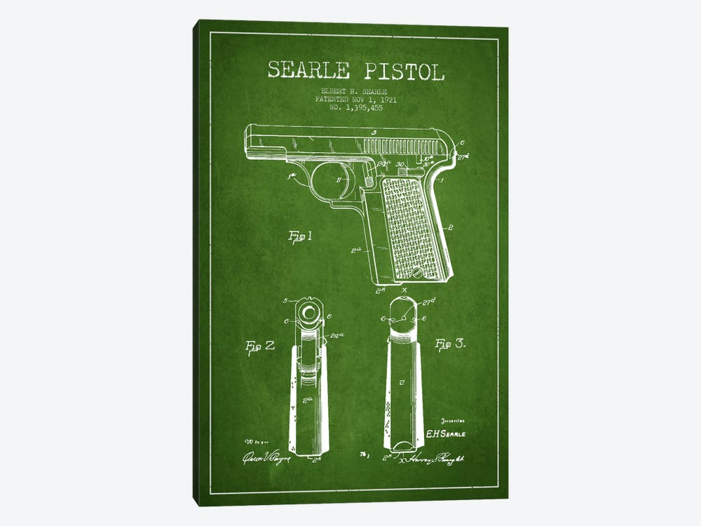 Searle Pistol Green Patent Blueprint by Aged Pixel 1-piece Canvas Print