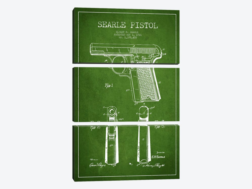Searle Pistol Green Patent Blueprint by Aged Pixel 3-piece Canvas Print