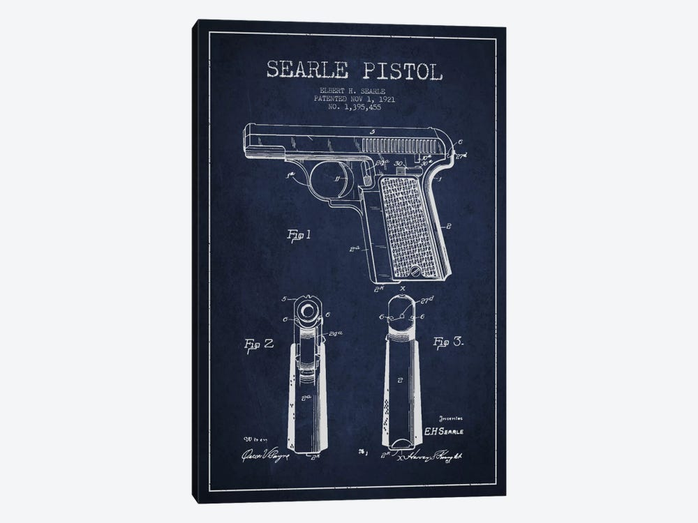 Searle Pistol Navy Blue Patent Blueprint by Aged Pixel 1-piece Canvas Art